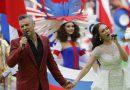 Robbie Williams en el breve espectáculo de apertura del Mundial